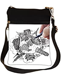 Snoogg Hand Drawing The Dream Travel Around The World Cross Body Tote Bag / Shoulder Sling Carry Bag