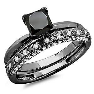 2.00 Carat (ctw) Black Rhodium Plated 10K White Gold Black And White Diamond Bridal Set 2 CT (Size 6)