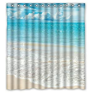 Amazon com 66 quot x 72 quot beach theme waterproof polyester fabric bathroom