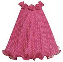 Bonnie Jean Girls 2-6X Dot Crystal Pleat Dress, Fuchsia, 3T