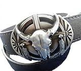 Texas カウボーイ おしゃれ バックル 牛 スカル ドクロ バッファロー ガイコツ ベルト ウエスタン バンド BFT98