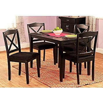 Kalaman Cross Back Dining Table Set for 4, Constructed of Sturdy Rubberwood (Black)