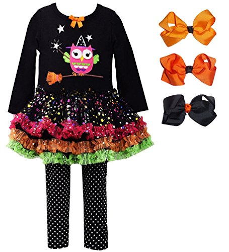 Baby Girls' WITCH OWL Sparkle Tutu Halloween Leggings set with 3 Hair Bows