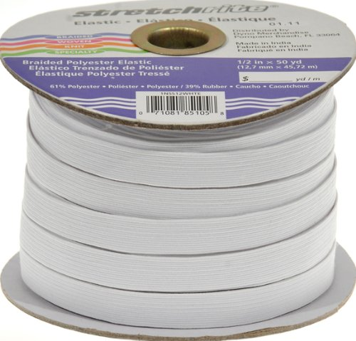 Find Bargain Stretchrite 1/2-Inch by 50-Yard White Braided Polyester Elastic Spool