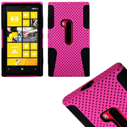 Mylife (Tm) Shocking Pink And Panther Black Perforated Mesh Series (2 Layer Neo Hybrid) Slim Armor Case For The Nokia Lumia 920, 920.2, 920T And 920 4G Camera Smartphone By Microsoft (External Rubberized Hard Shell Mesh Piece + Internal Soft Silicone Flex