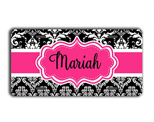 To Gild The Lily Damask monogrammed gift license plate - Black and white floral (Unusual License Plate Frames compare prices)