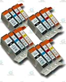 16 Chipped Compatible Canon PGI-5 & CLI-8 Ink Cartridges for Canon Pixma iX4000 Printer