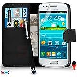 Samsung Galaxy S3 MINI Premium Leather Portefeuille NOIR flip Protecteur Ecran Housse Etui + Mini & Big tactile Stylet + & Chiffon SVL3 PAR SHUKAN®, (portefeuille NOIR)