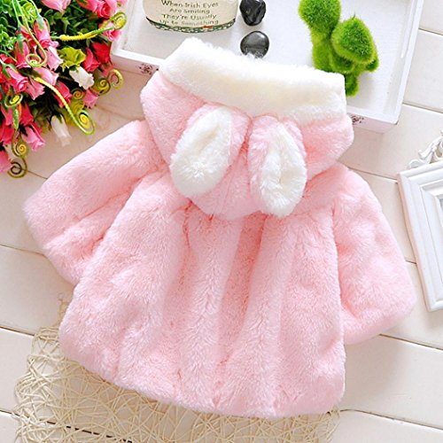 GBSELL Baby Infant Girls Fur Rabbit Hat Winter Coat Cloak Jacket Thick Warm Clothes (Pink, 9M)