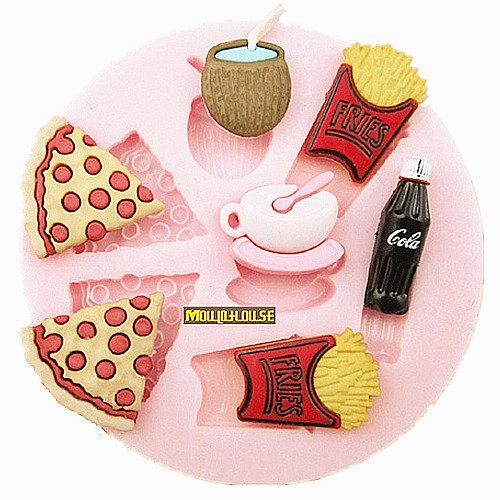 F0494 French Fries Cola Pizza Silicone Fondant Cake Molds