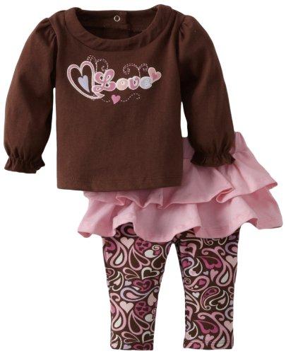 Vitamins Baby-girls Newborn 2 Piece Love Skegging Set, Brown, 6 Months