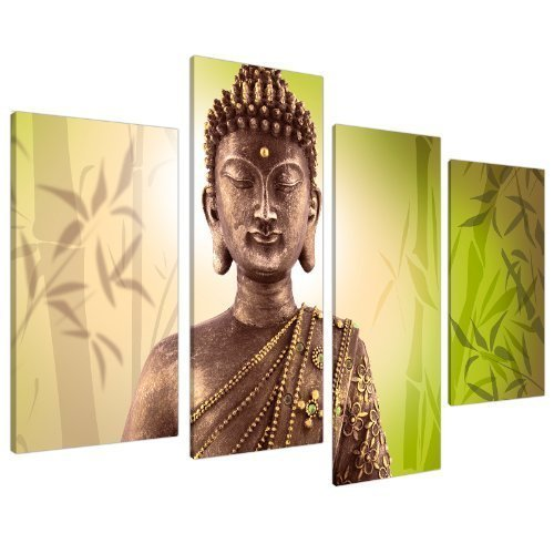 Large Buddha Split Canvas Wall Art Pictures - Lime Green Inspirational Set of 4 - Peaceful Meditating Artwork - Big Multi Panel Prints - XL - 130cm Wide