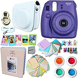 FujiFilm Instax Mini 8 Camera PURPLE + Accessories KIT for Fujifilm Instax Mini 8 Camera includes: Custom Mini 8 Case w/ Strap + Assorted Frames + Photo Album + 4 Color Filters + Selfie Mirror + MORE
