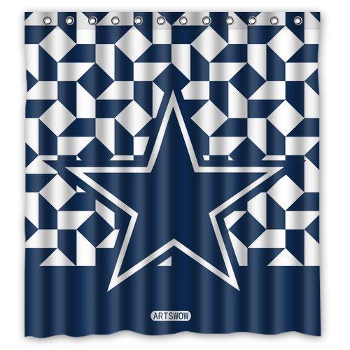 ARTSWOW NFL Dallas Cowboys Custom Waterproof Shower Curtain Bath 60 X 72