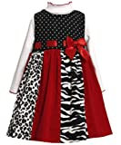 Bonnie Jean Girls Solid and Print Panel Corduroy Jumper Dress