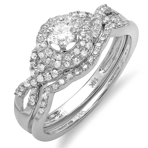 0.55 Carat (ctw) 14k White Gold Round Diamond Ladies Halo Style Bridal Ring Engagement Matching Band Wedding Set