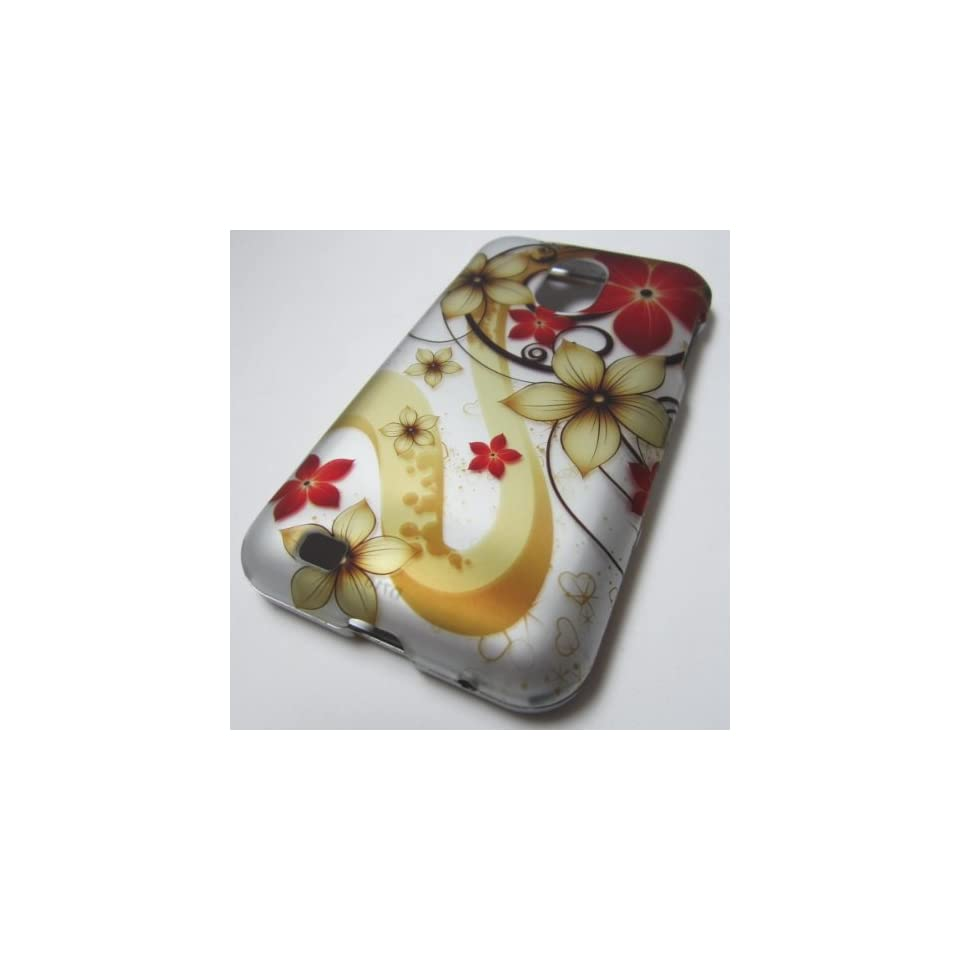 RUBBERIZES HARD PHONE CASES COVERS SKINS SNAP ON FACEPLATE PROTECTOR FOR SAMSUNG GALAXY S II/2 SII S2 EPIC TOUCH 4G SPH D710 SPRINT BOOST MOBILE /OR SCH R760 U.S. Cellular OR SCH R760X CDMA ALLTEL YELLOW FLOWER RED (WHOLESALE PRICE)