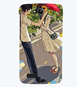 Printvisa Premium Back Cover Love Couple In A Sunflower Field Design For Huawei Honor Holly