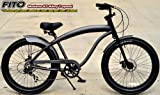 "Anti-Rust Aluminum frame, Fito Modena GT Alloy 7-speed Matte Grey, Disk Brake, men's 26"" Beach Cruiser Bike Bicycle"