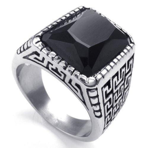 (キチシュウ)Aooazジュエリー メンズステンレスリング指輪 ブラックオニックス入り レトロパターン彫刻 シルバーとブラック 高品質のアクセサリー 日本サイズ17号(USサイズ8号)