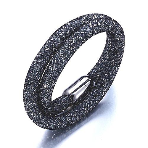 Stardust Bracciale doppio grigio cristalli Swarovski Elements bianco e acciaio inox - Blue Pearls - CRY G130 F