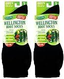 2x Mens UK Size 7-11 David James Wellington Boot Socks Black