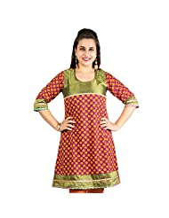 Rama Designer Cotton Multi Printed Knee Length Kurti (14RAMA1421083)