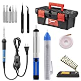 Soldering Iron Kit, Including 60W Temperature Control Soldering Iron with ON/OFF Switch, Tips, Solder Sucker, Desoldering Wick, Solder Wire, Anti-static Tweezers and Stand (soldering kit)