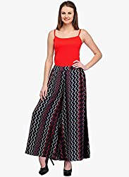 MemSahiba Women Gergette Printed Palazzo (MS-1774_Multicolor) (Multi coloured (Black))