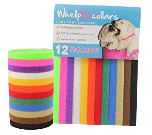 WhelpIDcollars - Puppy ID Bands - 12 Colours: Soft Fabric Velcro, Adjustable
