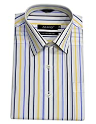 ARANY'S Premium White With Yellow & Blue Stripes Slim Fit Formal Shirt For Men - F7943, SIZE-36