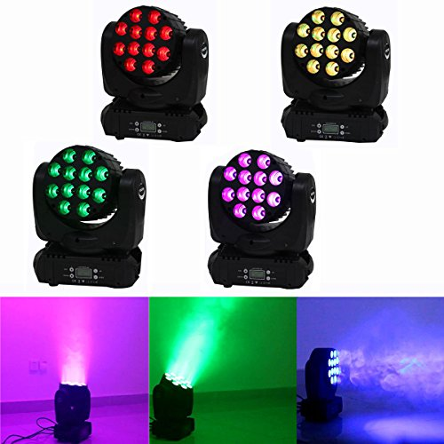 Yiscor Stage Lighting Led Par Light Spot Beam 120W 12Leds Rgbw (4In1) Dmx512 Moving Head For Home Garden Xmas Christmas Birthday Party Dj Disco Club Effect (Pack Of 4)