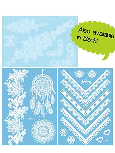 chictats-white-lace-temporary-tattoos-3-sheet-pack-bling-body-art-jewellery-for-women-girls-waterpro