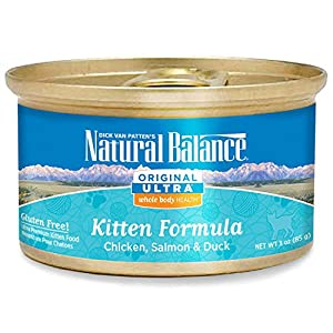Natural Balance Kitten Formula Original Ultra Whole Body Health Chicken, Salmon & Duck Wet Cat Food, 3-Ounce Can (Pack of 24)