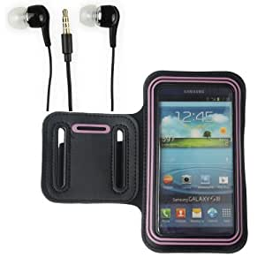NEW FASHIONE BLACK/PINK GYM ARMBAND CASE + 3.5mm Stereo Earphone
