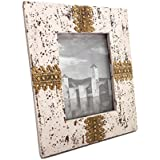 Shivay Arts Wooden & Brass Distress Finish Photo Frame White