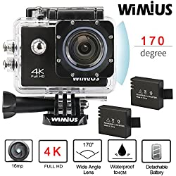 "Wimius 4K Action Cam WIFI WebCamera Full HD 1080P 16MP Impermeabile Sport Camera 170 ° Grandangolare 2.0"" Schermo LCD con Vari Accessori Nero"