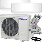 Pioneer Air Conditioner Inverter++ Ductless Wall Mount Multi Split System Air Conditioner & Heat Pump Full Set, Dual (2) Zone