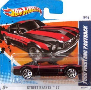 FORD MUSTANG FASTBACK (black w/red stripes) * 2011 Hot Wheels #89/244 Street Beasts 9/10 1:64-scale car on SHORT CARD - 1
