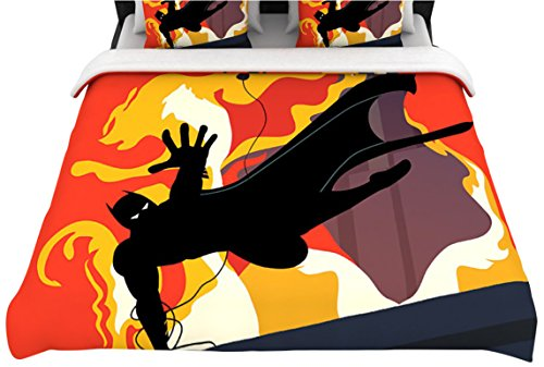 Kess Inhouse 68 By 88-Inch Kevin Manley Prodigal Son Batman Fire Woven Duvet Cover, Twin front-960771