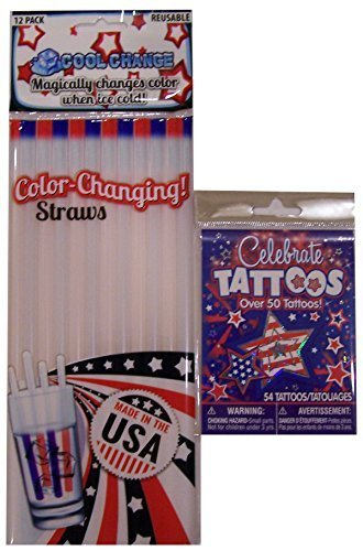 Patriotic Color Changing Straws Plus Temporary Tattoos