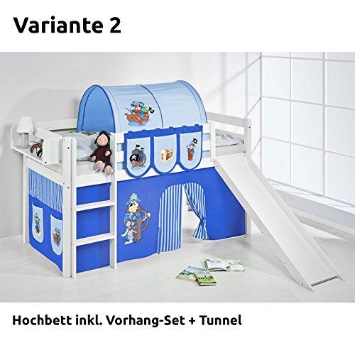 Hochbett Spielbett JELLE Pirat Blau Blau mit Rutsche und Vorhang, weiß, Variante 2 günstig kaufen