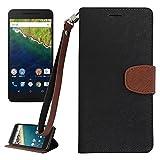 【 shizuka-will- 】Amazon限定 Google Nexus 5X 専用 手帳型 ケース カバー ストラップ付 カード収納あり ( フロントロゴ無 ) ( 黒×茶 ) docomo nexus5X
