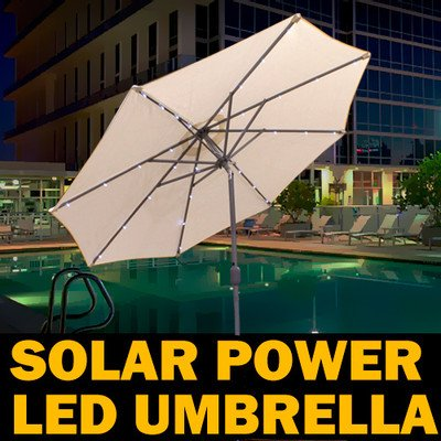 New Mtn Deluxe 9' Solar Powered Led Patio Outdoor Umbrella Shade Cover Ivory