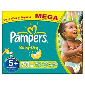 Pampers Baby Dry Size 5+ (Junior +) Mega Box - 70 Nappies