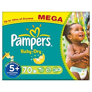 Pampers Baby Dry (Junior +) Nappies Mega Box - Size 5+ (70 Nappies)