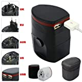 First2savvv black Luxury Universal Worldwide Travel Power Adaptor and USB Charger - African / European / American / Australian / Holiday Plug Adapter - Covers Over 150 Countries for sony xperia M xperia z Ultra Z1 E1 Z1 compact & AMAZON KINDLE fire HDX/H