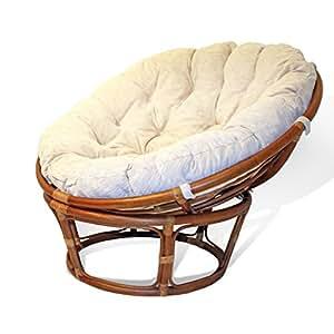 Handmade Rattan Wicker Round Papasan Chair With Cushion Colonial