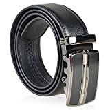 eForCity® Straight Line Men Automatic Buckle Genuine Leather Belt, Black