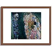 グスタフ・クリムト Gustav Klimt「死と生」 インテリア アート 絵画 プリント 額装作品 フレーム:木製(茶) サイズ:S (221mm X 272mm)